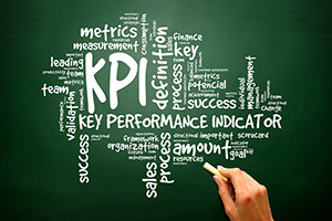 Hand drawn Wordcloud tags of KPI - key performance indicators concept on blackboard