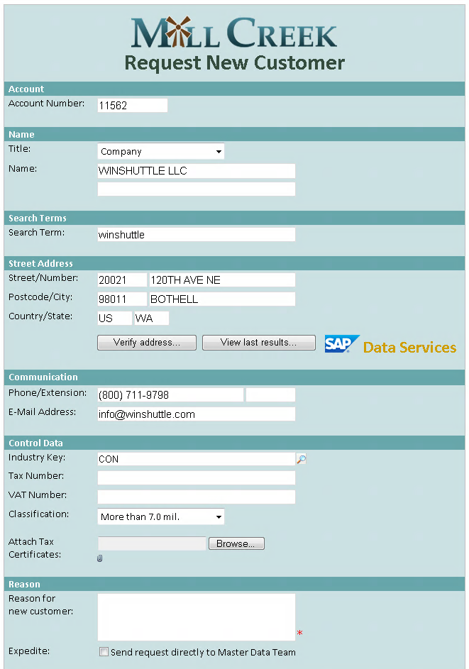 Verify customer and vendor addresses using SAP Data Services – Vendor Request Form
