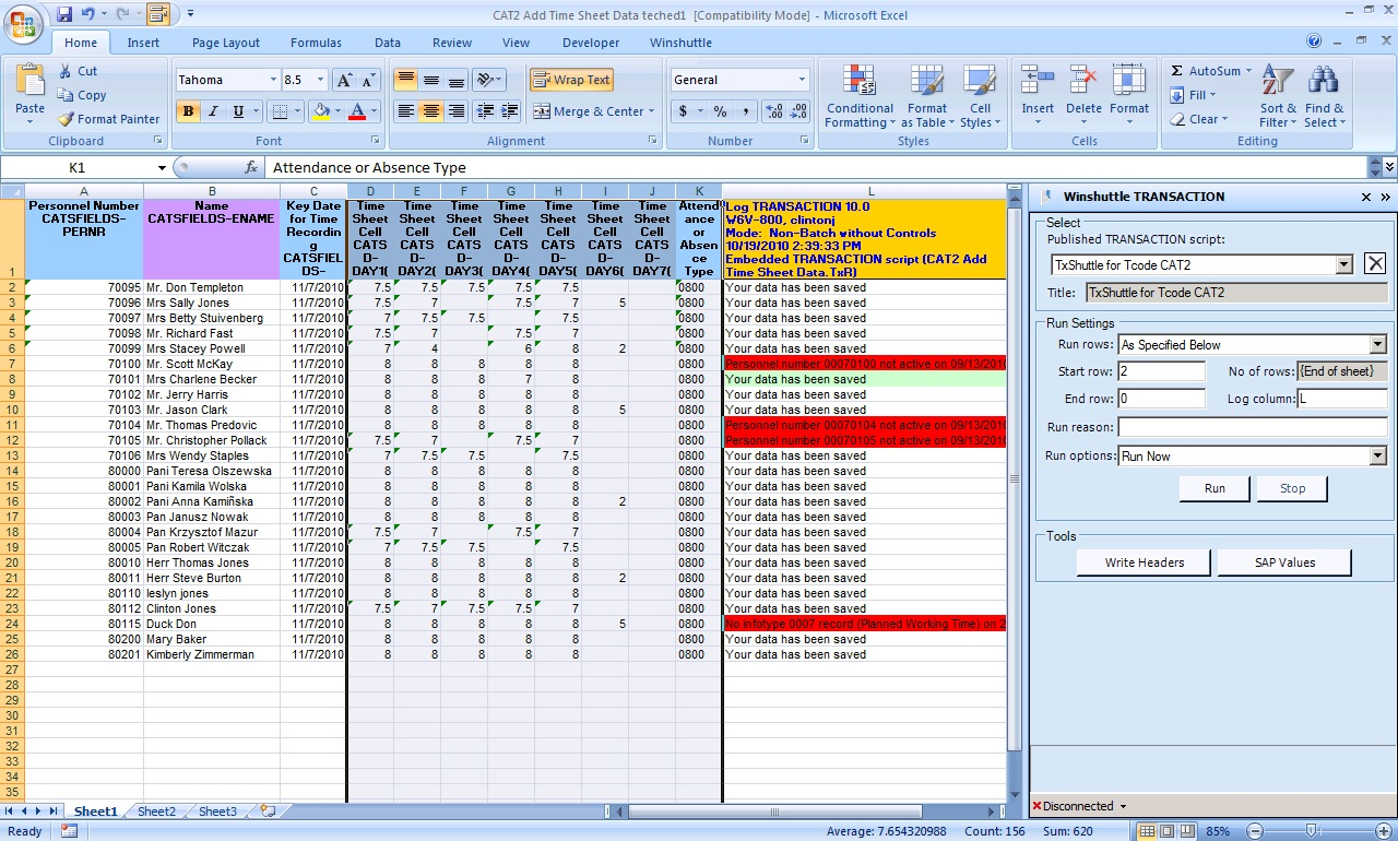 Maintain SAP time sheets from familiar interfaces