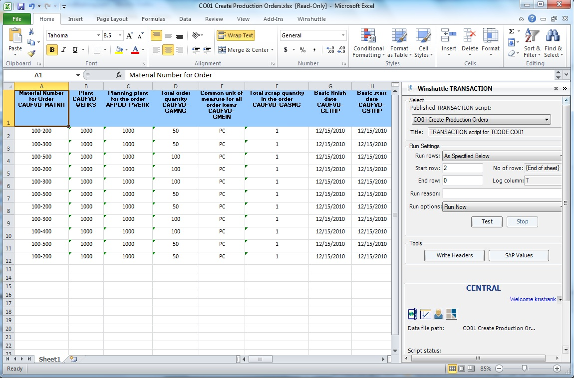 Updating SAP production orders using Transaction Excel add-in and Central