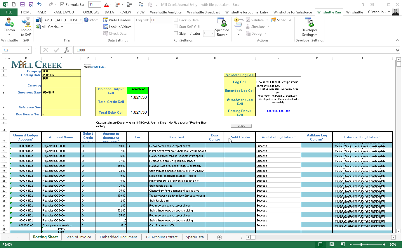 Using Excel and Transaction to automate FB50