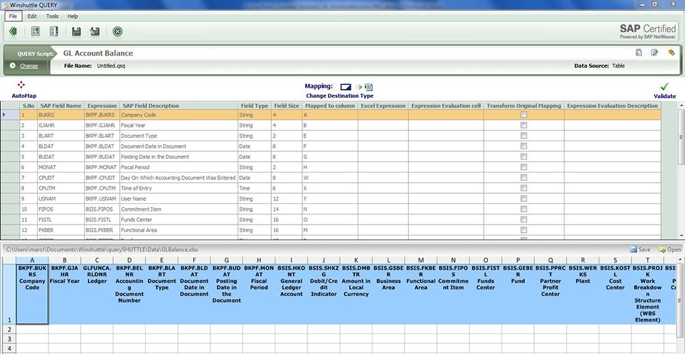 Query populating an account lookup to Excel