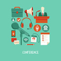 Vector business conference concept in flat style - webinar and online meeting icons and signs