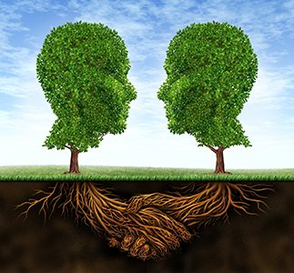 Business collaboration teamwork and growth with roots in the shape of a hand shake and trees as human heads for trust and integrity in a growing financial relationship for strong wealth success.