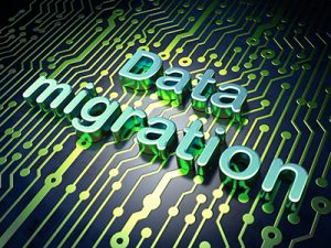 Data concept: circuit board with word Data Migration, 3d render
